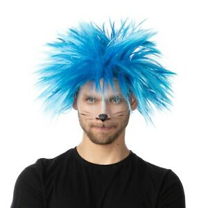 Blue Thing 1 Wig Afro Spikey Character Fancy Dress World Book Day Costume Cat UK