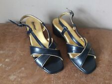 Hotter Leather Comfort Concept LUCY Sandals Navy/Gold Trim  UK 4 in New Cond