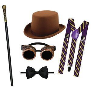 Mens Willy Wonka Chocolate Factory Roald Dahl Book Dahl Fancy Dress Costume