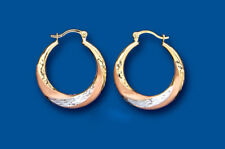 Hoop Earrings Gold Creole Three Colour Rose White Yellow Multi Tone Gold 20mm