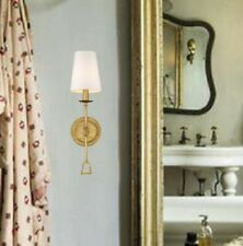 """Antique Gold 1.One LIGHT Sconce 20"""" H Tall White Shade Wall Fixture Distressed"""