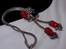 Vintage Gold Selro Selini Red Noh Devil Turquoise Black Lariat Slide Necklace
