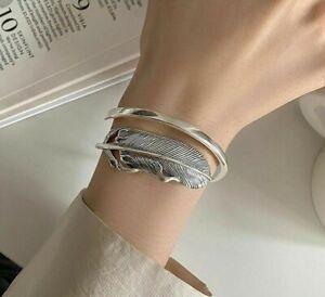 Vintage Celtic Feather Bracelet 925 Sterling Silver Adjustable Retro Cuff Bangle