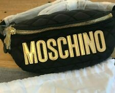 AW18 Moschino Couture Jeremy Scott Black Quilted Fanny Pack w/Gold Stitched Logo