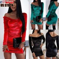 US Womens Velvet Sexy Off Shoulder Mini Dress Long Sleeve Evening Cocktail Dress