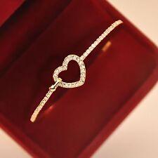 Fashion Style Gold Rhinestone Love Heart Bangle Cuff Bracelet Jewellery.