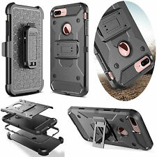 Shock-proof Rugged Hybrid Armor Case Cover + Stand Holster Belt Clip For iPhone