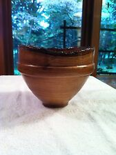 HANDMADE WOODEN CARVED TURNED BOWL NATURAL BARK EDGE   M2