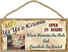 "Ya Ya's Kitchen, Grandkids are spoiled Funny Sign Plaque 5""x10"" Grandmother"