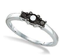 10K White Gold Black Diamond Ring 3 Stone Round Cut diamond Band .27ct