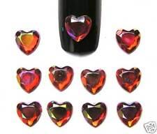 10 Bijoux Strass ongles COEUR Rouge Irisé 6 mm Nail Art