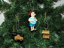 Peter Pan, Mr. Smee, Cannon, Treasure Chest Set of Three Christmas Ornaments