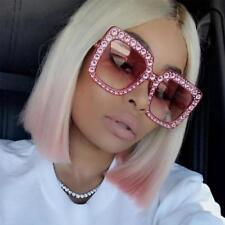 Luxury Diamond Square Sunglasses Oversized Crystal Gradient Mirror Shades OC