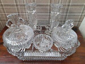 Vintage art deco style Glass 6 piece Dressing Table Vanity Set free p&p
