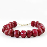 373.50 CTS EARTH MINED ROUND SHAPED RICH RED RUBY FACETED BEADS BRACELET (DG)