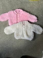 Baby girls White & Pink Hand knitted loopy cardigans 6m