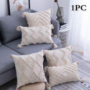 Moroccan Tufted Cushion Covers Bohemia Macrame Tassels Sofa Pillow Case