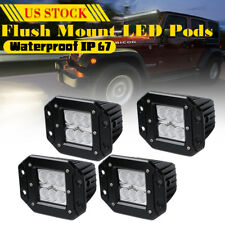 4x4inch 18W Flush Mount Led Lights Pods Reverse Bumper Flood Chevy For ATV Lamp