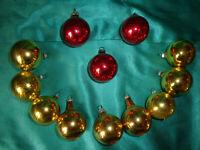 ~ 12 kleine alte Christbaumkugeln Glas rot gold Weihnachtsbaumkugeln Tannenbaum