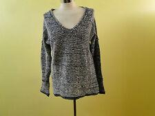 O'Neil Women V Neck Exposed Seams Sweater /Grays /X Small.