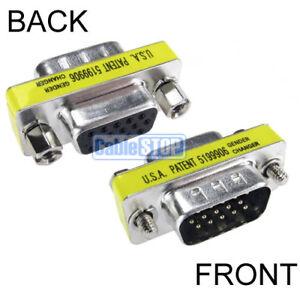 Slim 15 Pin - PORT SAVER - Male to Female - SUB D SVGA VGA HD15 Adapter