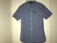 SUPERDRY Mens Short Sleeve Shirt Blue/White Check Gingham Summer Size M or L