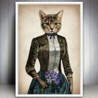 CAT KITTEN FLOWERS TABBY ART PRINT VINTAGE OLD ANTIQUE STYLE GIFT FOR CAT LOVER