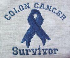 Colon Cancer Sweatshirt Blue Awareness Ribbon SURVIVOR Gray 3XL Unisex Blend New