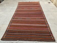 4.2 X 9.6 Ft Multi Colored Classic Wool Turkish Kilim Rug, Foyer Entryway Size