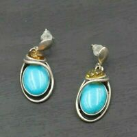 Vintage Sterling Silver Amber Cabochon Turquoise Geometric Pierced Earrings G16