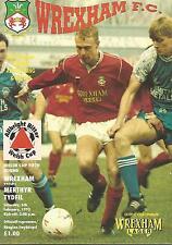 Football Programme - Wrexham v Merthyr Tydfil - Welsh Cup - 6/2/1993