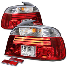 FOR 97-00 BMW E39 5-SERIES 4DR CLEAR LENS RED LED SIGNAL BRAKE TAIL LIGHTS KIT