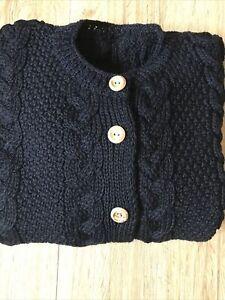 "Traditional Black 100% British Wool Cable Knit Aran Cardigan Medium 40"" Chest"