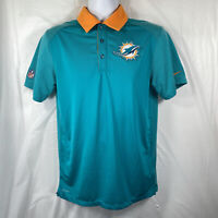 Nike Dri-Fit Miami Dolphins Mens Small Button Up Golf Polo NFL Onfield Apparel S