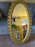 "Vintage Antique Beveled Glass Ornate Wall Hanging 47"" x 25"" Mirror"