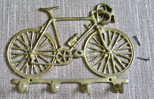 Vintage Solid Brass Bicycle Road Bike Key Hook Wall Holder 4-Hooks India