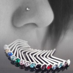 1 Pc Opal Nose Stud 6 Colours Flat Top Set 20g(0.8mm) Surgical Steel L Bend Stud