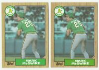 Mark McGwire Rookie LOT X 2 1987 Topps #366 RC Oakland Athletics