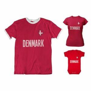 Adult or Kids DENMARK Country Badge Football TShirt 2021 Danis Euro Shipping