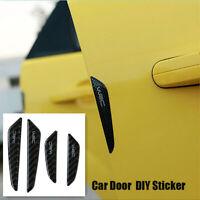 4X Black Carbon Fiber Auto Car Door Side Anti-collision Protector DIY Stickers