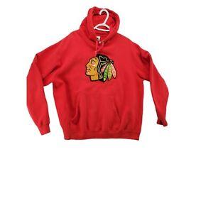 CHICAGO BLACKHAWKS Sweatshirt Men's Hoodie Red MAJESTIC Size Large