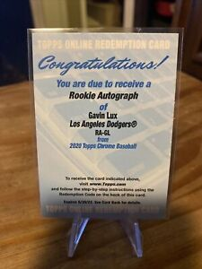 Gavin Lux 2020 Topps Chrome Rookie Autograph #RA-GL Unused Redemption Dodgers