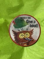 Vintage Vari-Vue Lenticular Pinback Button Woodsy Owl Give a Hoot! Don't Pollute