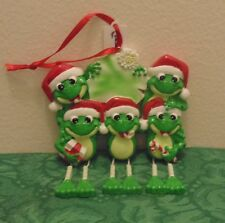 Frog Family of 5 Personalized Christmas Tree Ornament Holiday Gift