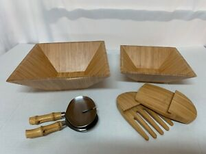 Pampered Chef 2 Bamboo Wood Salad Bowls/Serving Spoons and Wood Claws