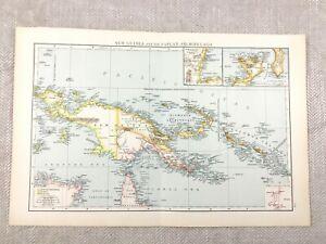 1895 Map of Papa New Guinea Solomon Islands Antique 19th Century Victorian