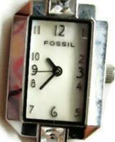 FOSSIL f2 Stainless Steel Silver Tone Woman's Watch Analog Quartz New Battery