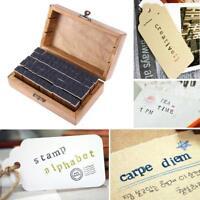 70pcs Rubber Stamps Vintage Wooden Box Case Alphabet Letters Number Craft Gift