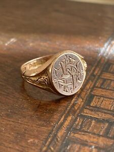 Gents 9ct 375 Subtle Rose Gold Signet Ring  ~ Size Q1/2  ~ Rare Chester 1921