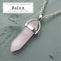 Silver Plated Rose Quartz Point Pendant & Chain Wicca Reiki Chakra LOVE ENERGY
